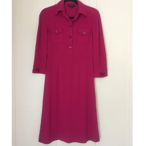 Tahari ASL Bright Pink Sheath Shirt Dress Size 4